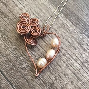 Copper Heart and Cultivated Pearls necklace ! 🧡🌻